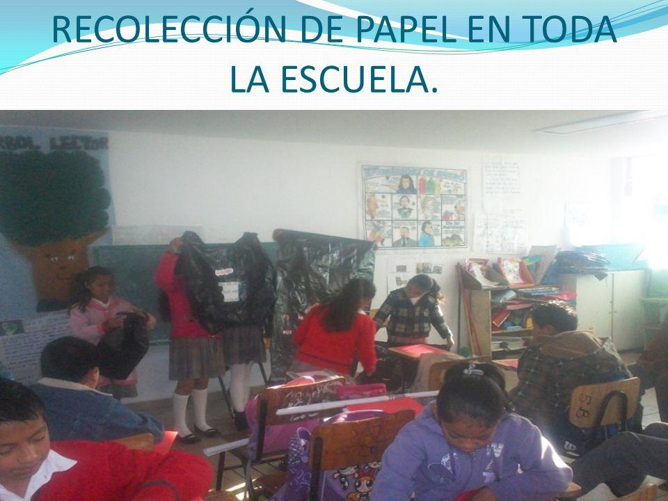 RECOLECCIÓN DE PAPEL EN TODA LA ESCUELA.