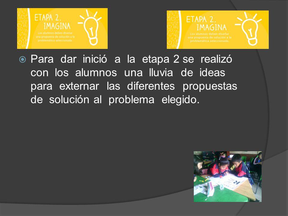Para dar inició a la etapa 2 se realizó con los alumnos una lluvia de ideas para externar las diferentes propuestas de solución al problema elegido.