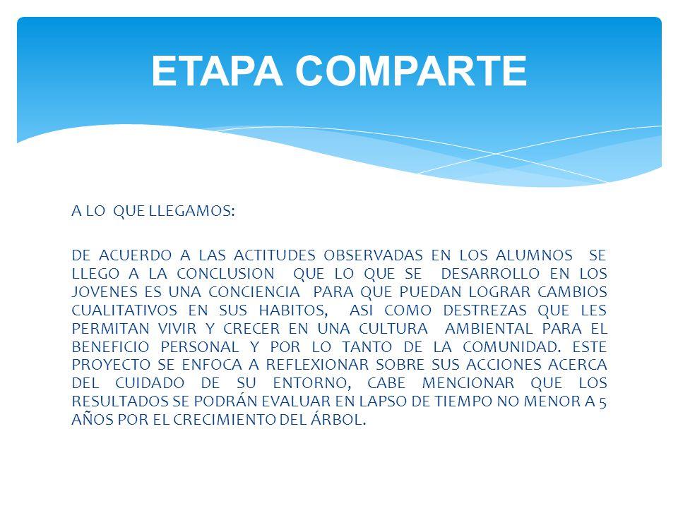 ETAPA COMPARTE A LO QUE LLEGAMOS: