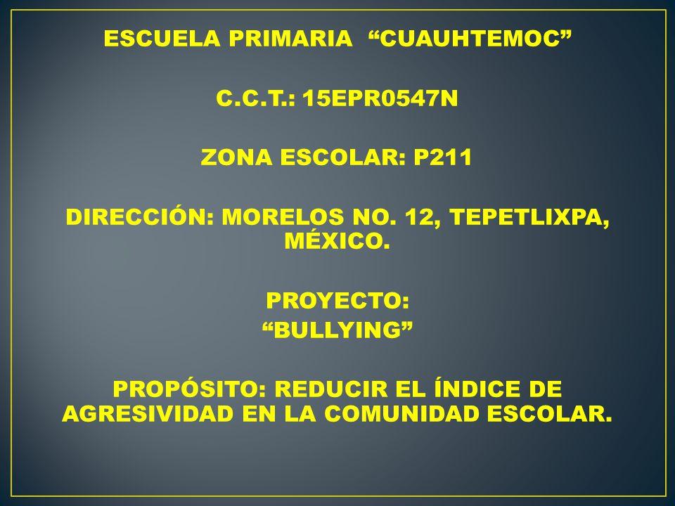 ESCUELA PRIMARIA CUAUHTEMOC C.C.T.: 15EPR0547N ZONA ESCOLAR: P211