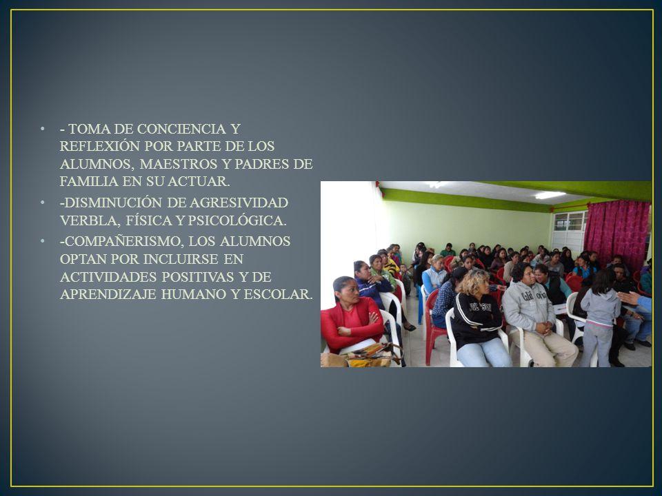 - TOMA DE CONCIENCIA Y REFLEXIÓN POR PARTE DE LOS ALUMNOS, MAESTROS Y PADRES DE FAMILIA EN SU ACTUAR.