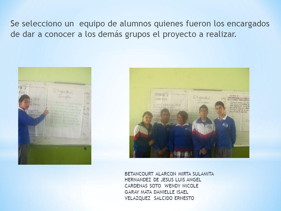 Se selecciono un equipo de alumnos quienes fueron los encargados de dar a conocer a los demás grupos el proyecto a realizar.