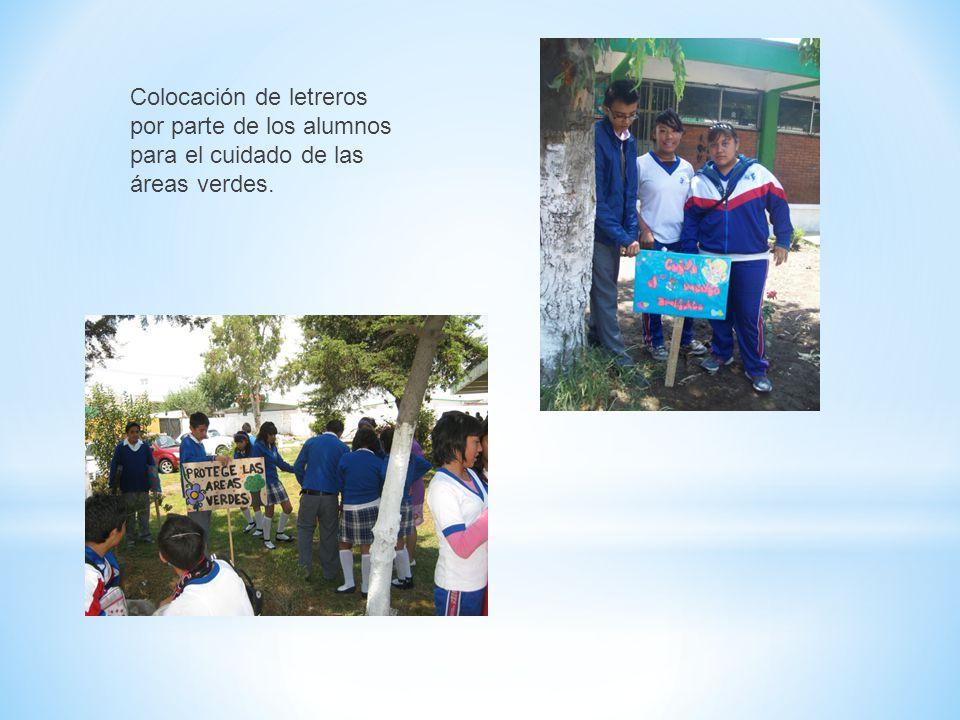 Colocación de letreros por parte de los alumnos para el cuidado de las áreas verdes.