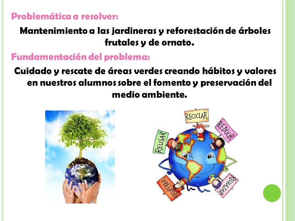 Problemática a resolver: Mantenimiento a las jardineras y reforestación de árboles frutales y de ornato.