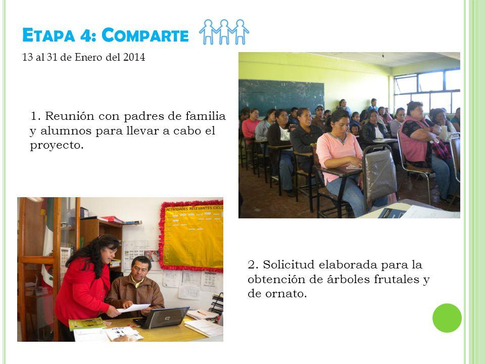 Etapa 4: Comparte 13 al 31 de Enero del 2014. 1. Reunión con padres de familia y alumnos para llevar a cabo el proyecto.