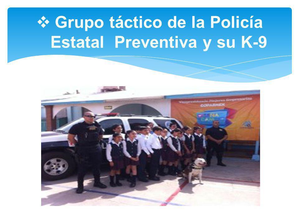 Grupo táctico de la Policía Estatal Preventiva y su K-9