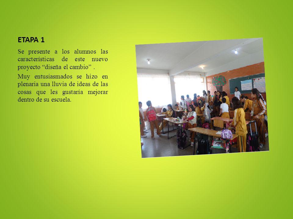 ETAPA 1 Se presente a los alumnos las características de este nuevo proyecto diseña el cambio .