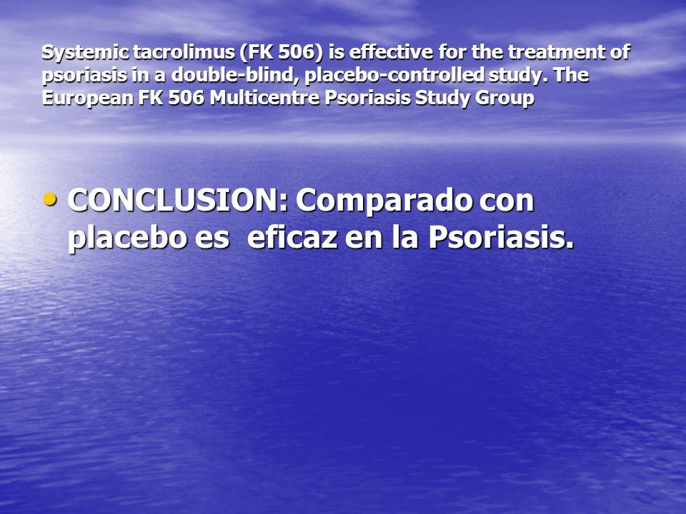 CONCLUSION: Comparado con placebo es eficaz en la Psoriasis.