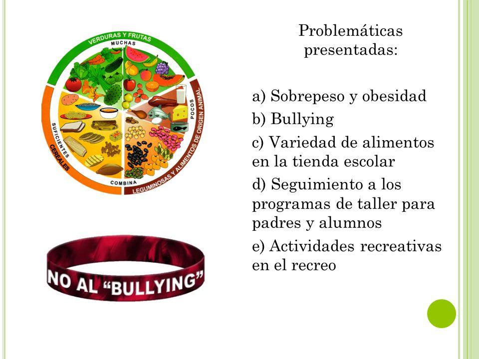 Problemáticas presentadas: a) Sobrepeso y obesidad b) Bullying c) Variedad de alimentos en la tienda escolar d) Seguimiento a los programas de taller para padres y alumnos e) Actividades recreativas en el recreo