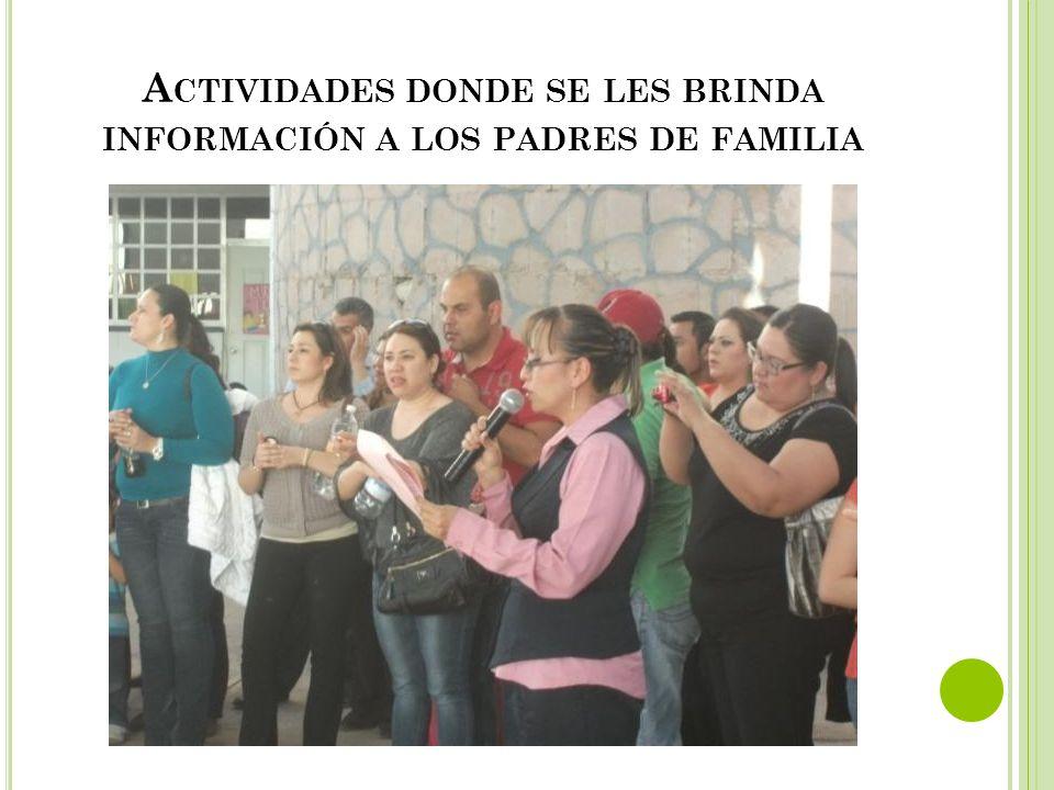 Actividades donde se les brinda información a los padres de familia