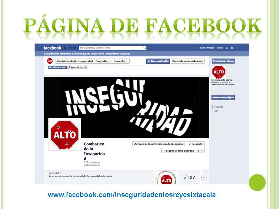 Página de facebook www.facebook.com/inseguridadenlosreyesixtacala