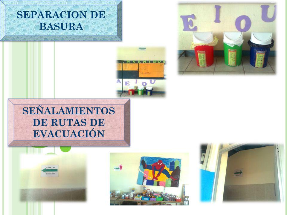 SEÑALAMIENTOS DE RUTAS DE EVACUACIÓN