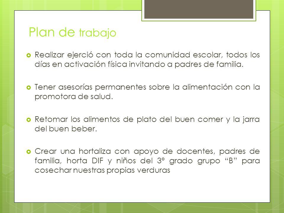 Plan de trabajo Realizar ejerció con toda la comunidad escolar, todos los días en activación física invitando a padres de familia.