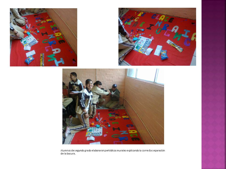 Alumnos de segundo grado elaboraron periódicos murales explicando la correcta separación de la basura.
