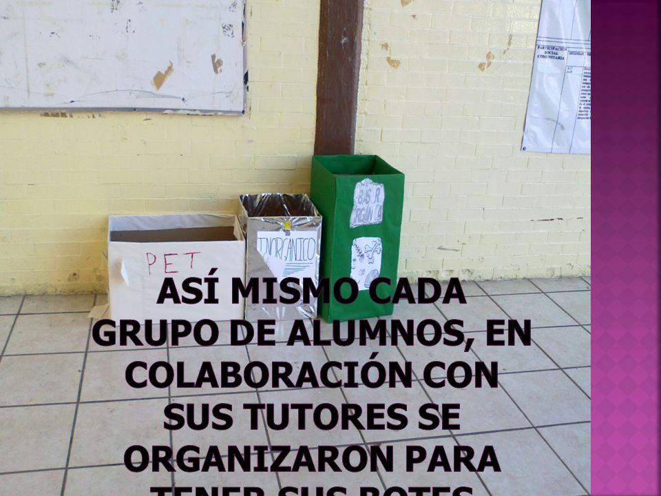 Así mismo cada grupo de alumnos, en colaboración con sus tutores se organizaron para tener sus botes ecológicos, dentro del salón.