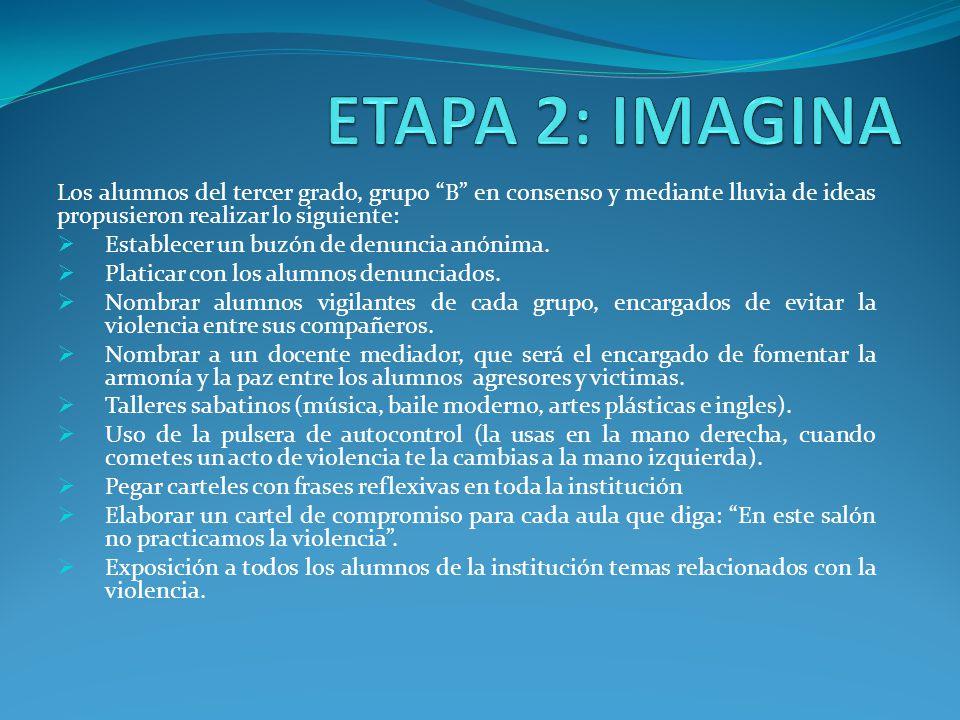 ETAPA 2: IMAGINA Los alumnos del tercer grado, grupo B en consenso y mediante lluvia de ideas propusieron realizar lo siguiente: