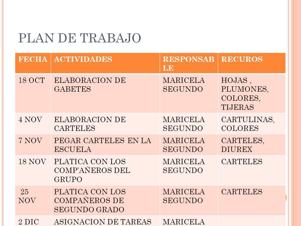 PLAN DE TRABAJO FECHA ACTIVIDADES RESPONSABLE RECUROS 18 OCT