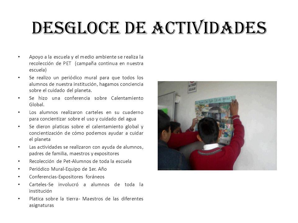 DESGLOCE DE ACTIVIDADES
