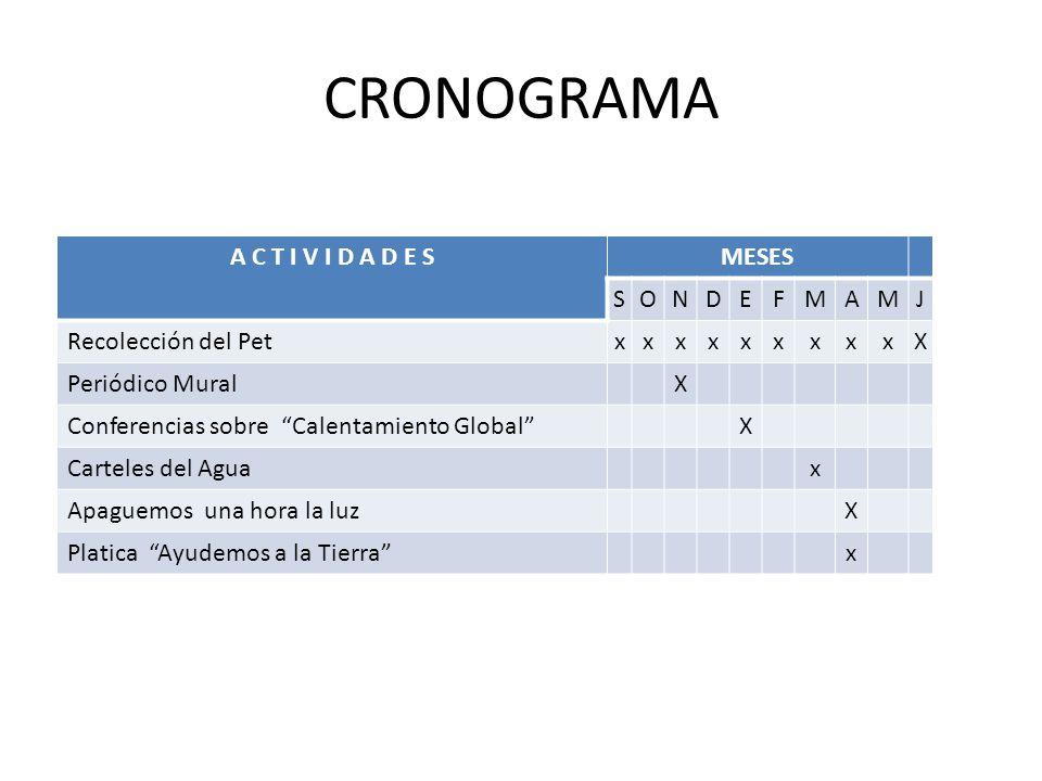 CRONOGRAMA A C T I V I D A D E S MESES S O N D E F M A J