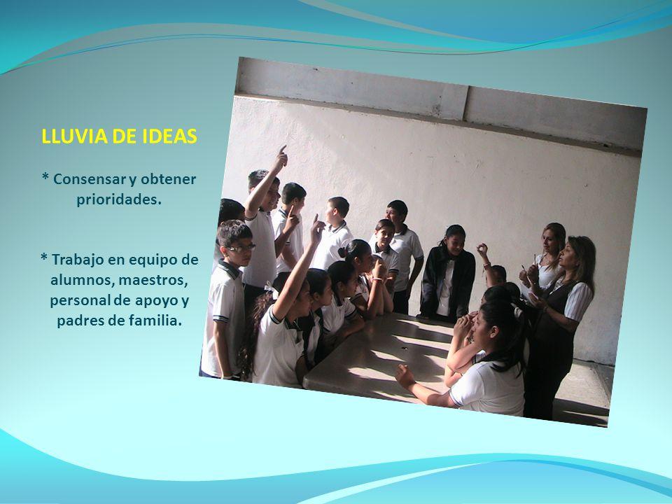LLUVIA DE IDEAS. Consensar y obtener prioridades