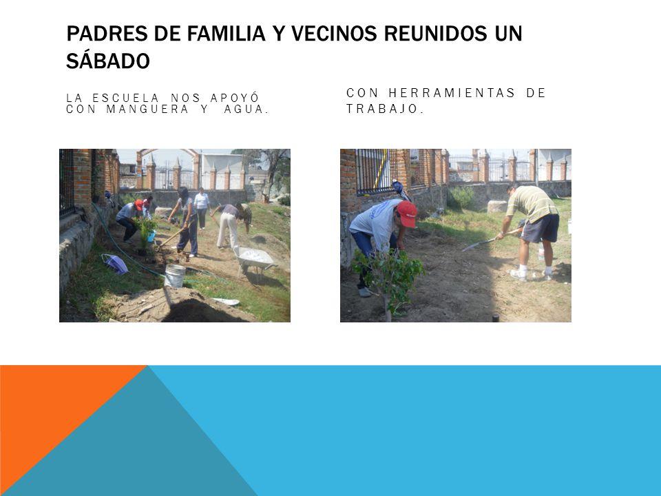 Padres de familia y vecinos reunidos un sábado