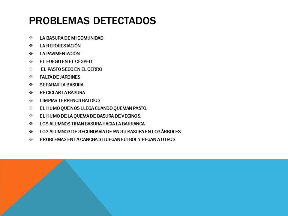 PROBLEMAS DETECTADOS LA BASURA DE MI COMUNIDAD LA REFORESTACIÓN