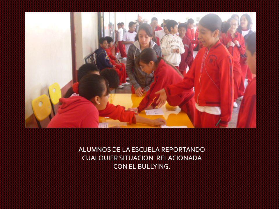 ALUMNOS DE LA ESCUELA REPORTANDO CUALQUIER SITUACION RELACIONADA CON EL BULLYING.