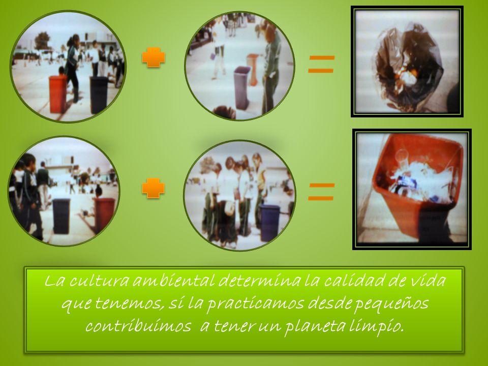 La cultura ambiental determina la calidad de vida que tenemos, si la practicamos desde pequeños contribuimos a tener un planeta limpio.
