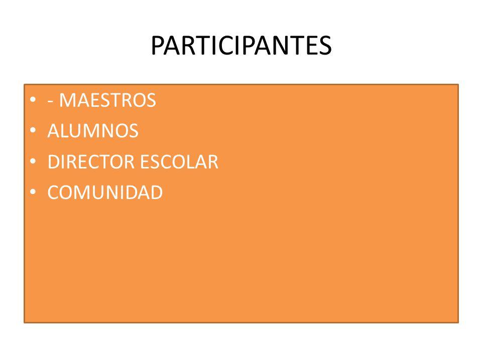 PARTICIPANTES - MAESTROS ALUMNOS DIRECTOR ESCOLAR COMUNIDAD