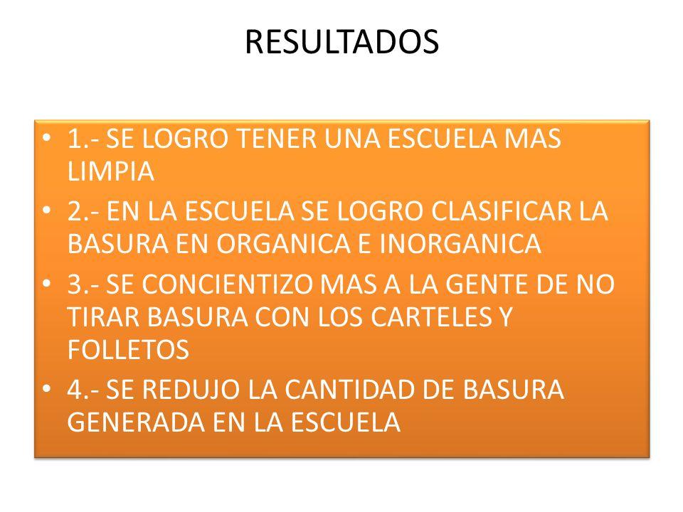 RESULTADOS 1.- SE LOGRO TENER UNA ESCUELA MAS LIMPIA