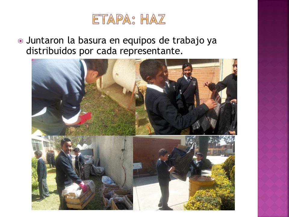Etapa: haz Juntaron la basura en equipos de trabajo ya distribuidos por cada representante.