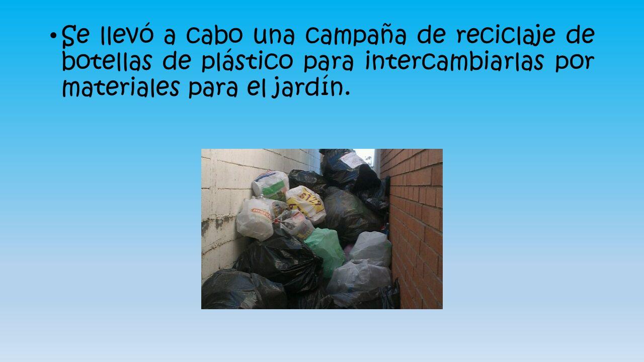 Se llevó a cabo una campaña de reciclaje de botellas de plástico para intercambiarlas por materiales para el jardín.