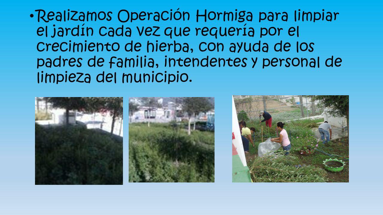 Realizamos Operación Hormiga para limpiar el jardín cada vez que requería por el crecimiento de hierba, con ayuda de los padres de familia, intendentes y personal de limpieza del municipio.