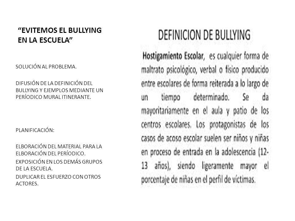 EVITEMOS EL BULLYING EN LA ESCUELA