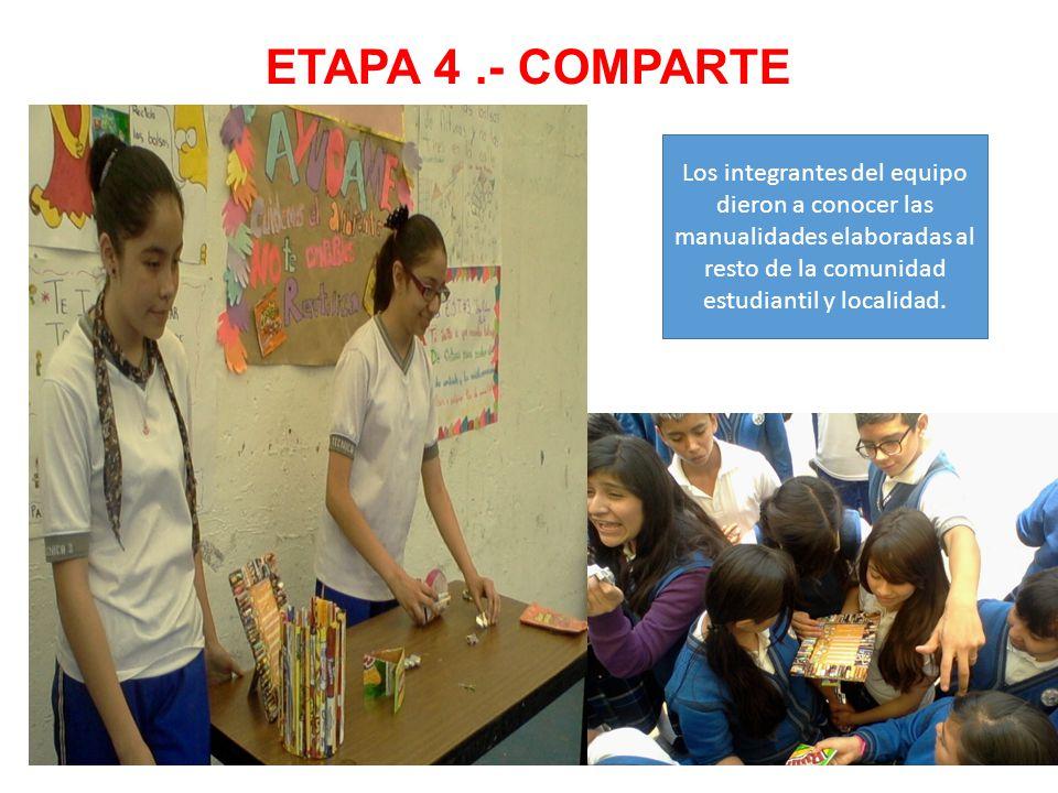 ETAPA 4 .- COMPARTE Los integrantes del equipo dieron a conocer las manualidades elaboradas al resto de la comunidad estudiantil y localidad.