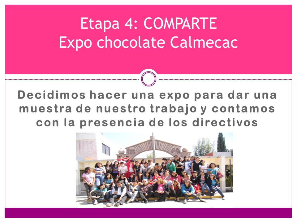 Etapa 4: COMPARTE Expo chocolate Calmecac