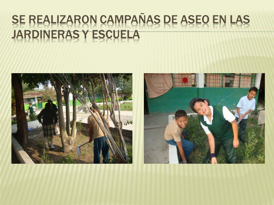 Se realizaron campañas de aseo en las jardineras y escuela