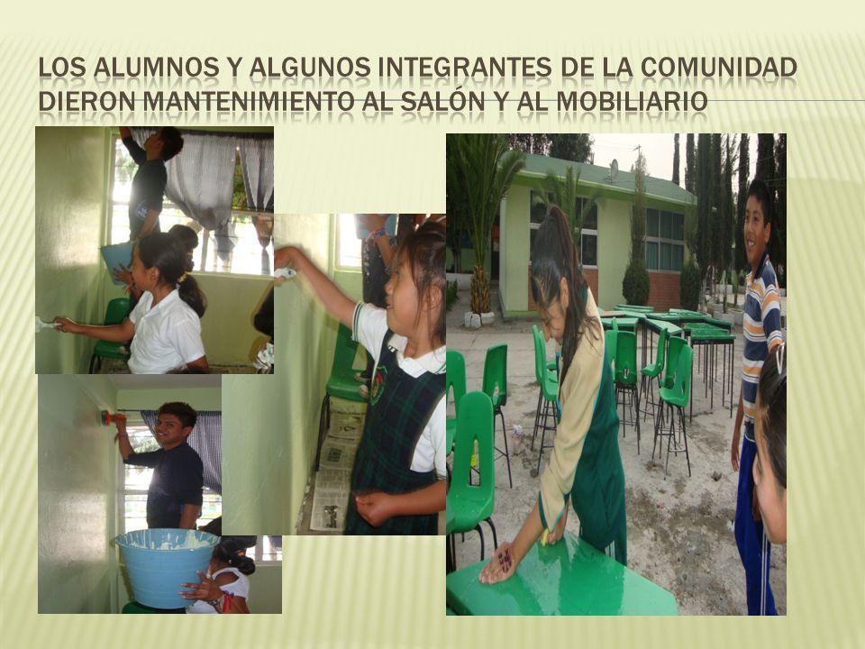Los alumnos y algunos integrantes de la comunidad dieron mantenimiento al salón y al mobiliario