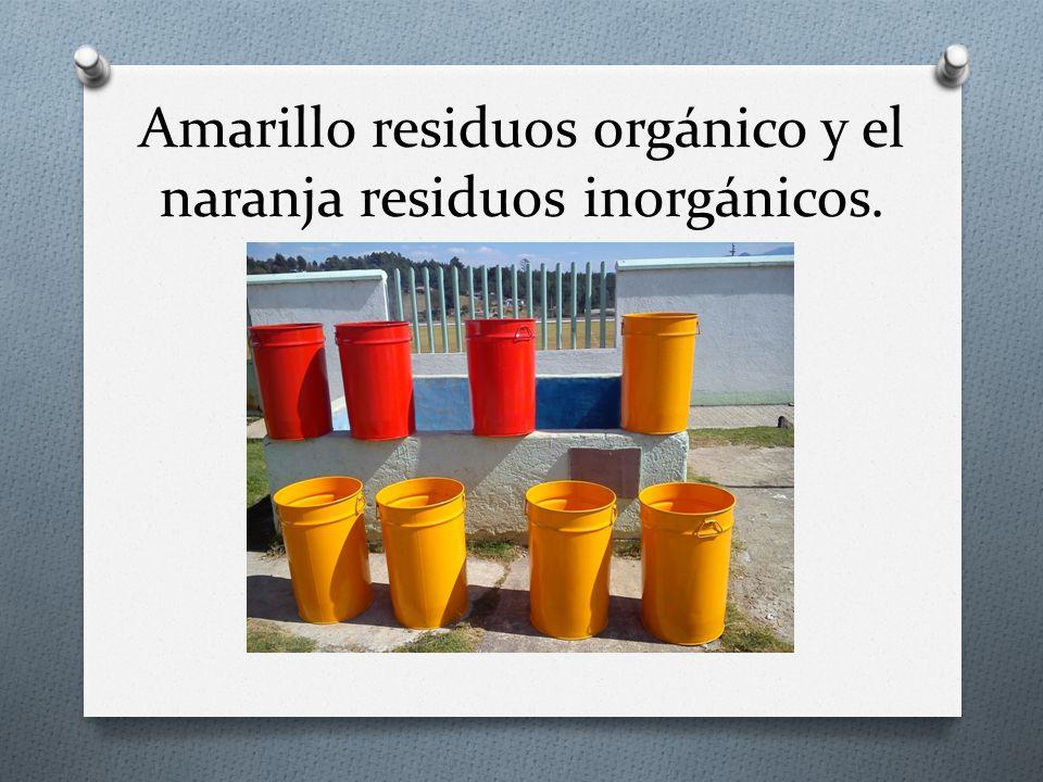 Amarillo residuos orgánico y el naranja residuos inorgánicos.
