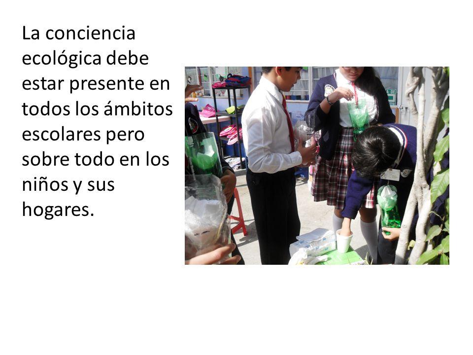La conciencia ecológica debe estar presente en todos los ámbitos escolares pero sobre todo en los niños y sus hogares.