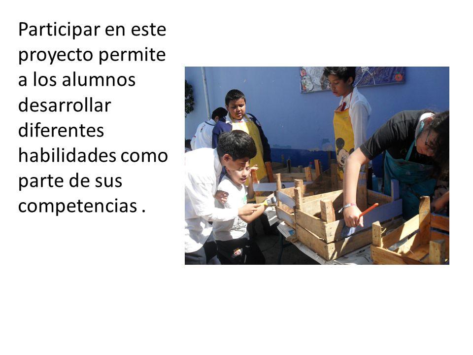 Participar en este proyecto permite a los alumnos desarrollar diferentes habilidades como parte de sus competencias .