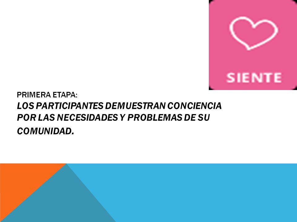 PRIMERA ETAPA: LOS PARTICIPANTES DEMUESTRAN CONCIENCIA POR LAS NECESIDADES Y PROBLEMAS DE SU COMUNIDAD.