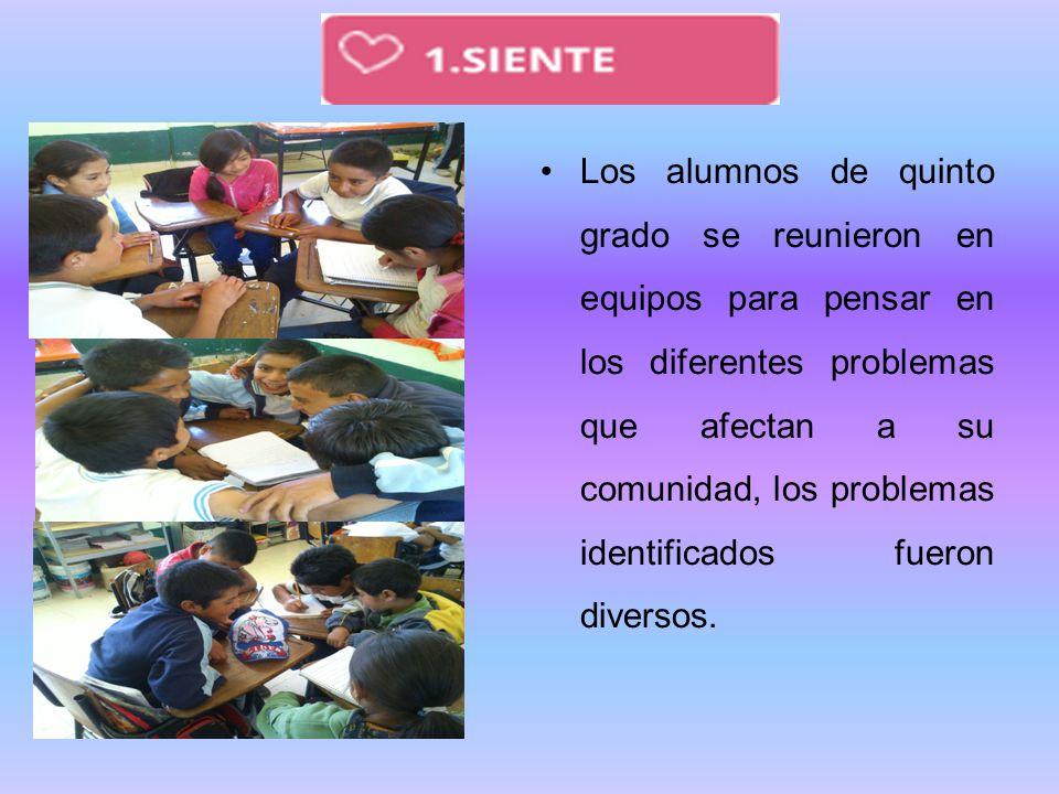 Los alumnos de quinto grado se reunieron en equipos para pensar en los diferentes problemas que afectan a su comunidad, los problemas identificados fueron diversos.