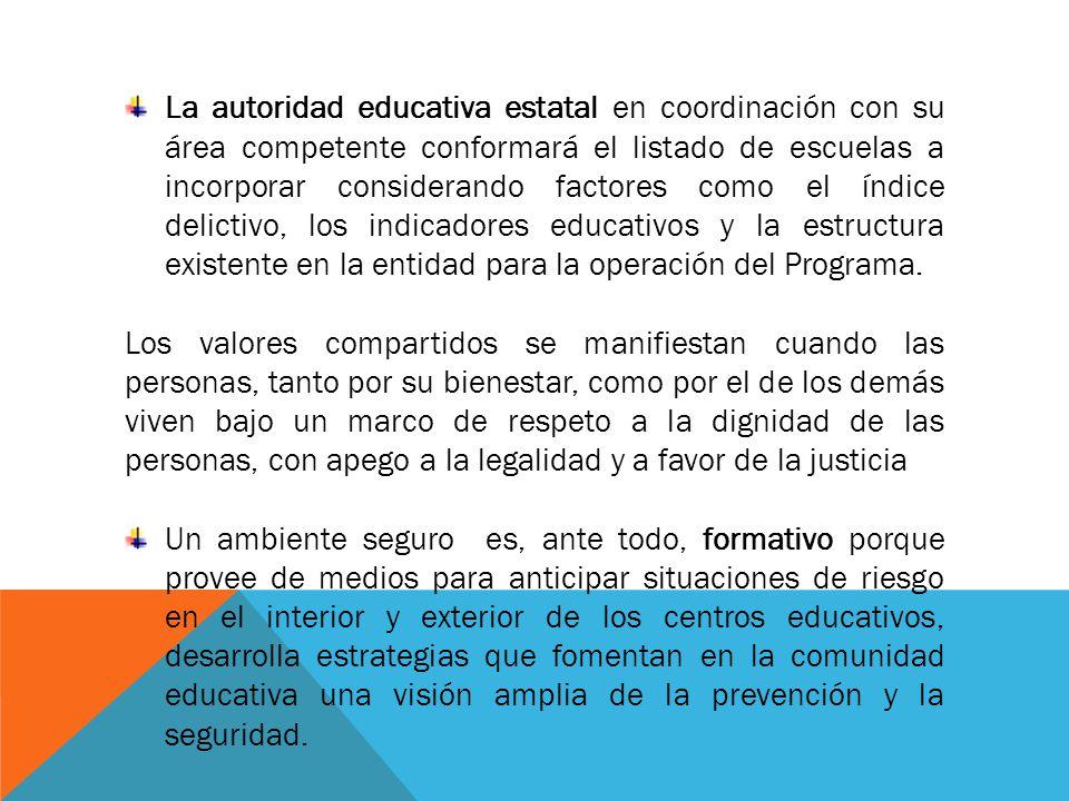 La autoridad educativa estatal en coordinación con su área competente conformará el listado de escuelas a incorporar considerando factores como el índice delictivo, los indicadores educativos y la estructura existente en la entidad para la operación del Programa.