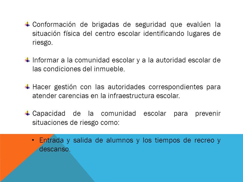 Conformación de brigadas de seguridad que evalúen la situación física del centro escolar identificando lugares de riesgo.