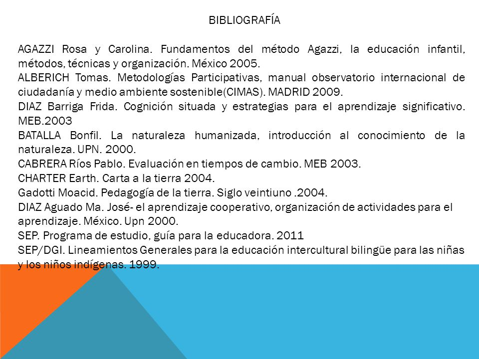 BIBLIOGRAFÍA AGAZZI Rosa y Carolina. Fundamentos del método Agazzi, la educación infantil, métodos, técnicas y organización. México 2005.