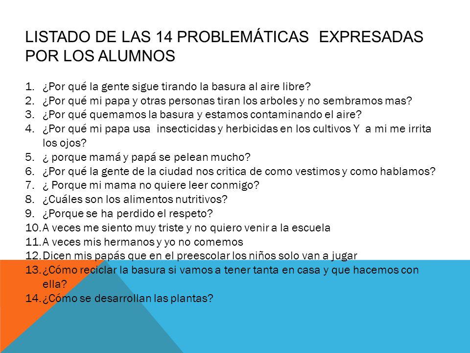 LISTADO DE LAS 14 PROBLEMÁTICAS EXPRESADAS POR LOS ALUMNOS