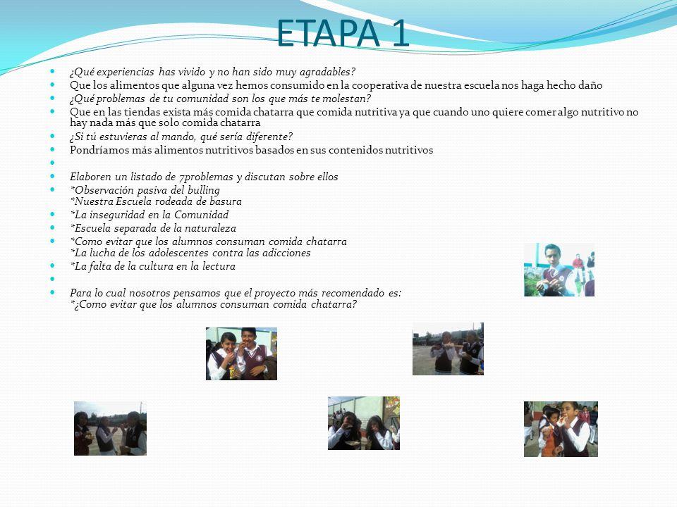 ETAPA 1 ¿Qué experiencias has vivido y no han sido muy agradables