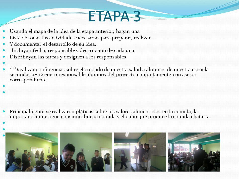 ETAPA 3 Usando el mapa de la idea de la etapa anterior, hagan una