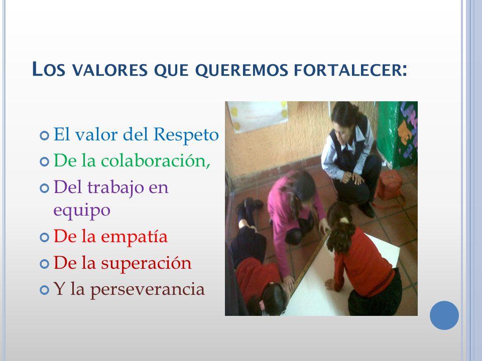 Los valores que queremos fortalecer: